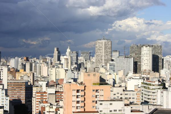 Viharos égbolt Sao Paulo sziluett Brazília város Stock fotó © Spectral