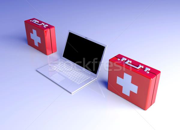 Laptop eerste hulp 3d illustration toetsenbord monitor mobiele Stockfoto © Spectral
