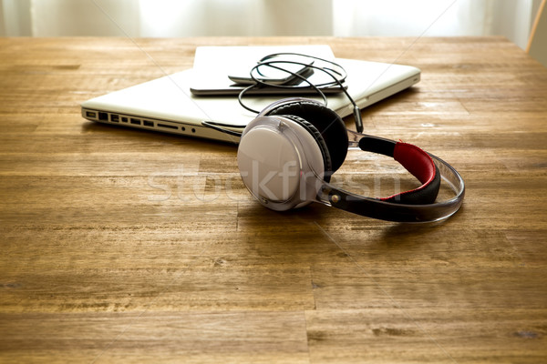 Digital devices and Headphones on a wooden Desktop Stock photo © Spectral