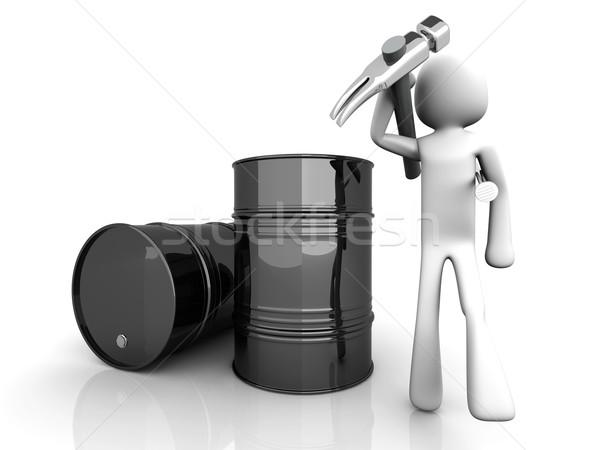 Olajmunkás munkás olajipar 3D renderelt illusztráció Stock fotó © Spectral
