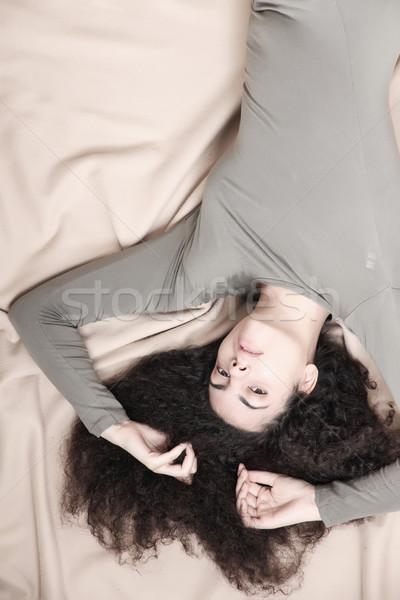 Pihen fiatal nő ágy lány szépség Stock fotó © Spectral