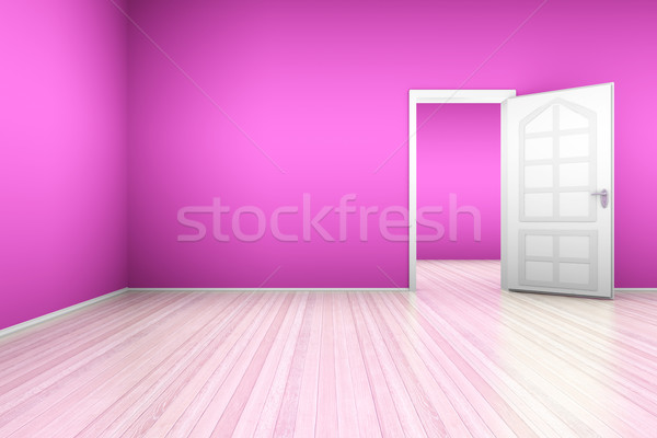 Rosa apartamento puerta abierta 3d edificio madera Foto stock © Spectral