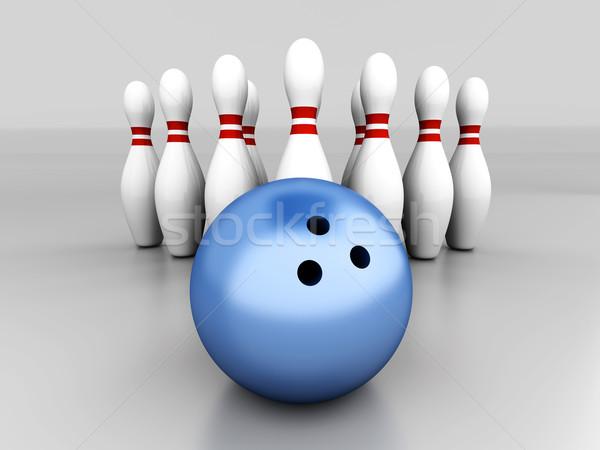 Bowling ayarlamak 3D render örnek gri Stok fotoğraf © Spectral