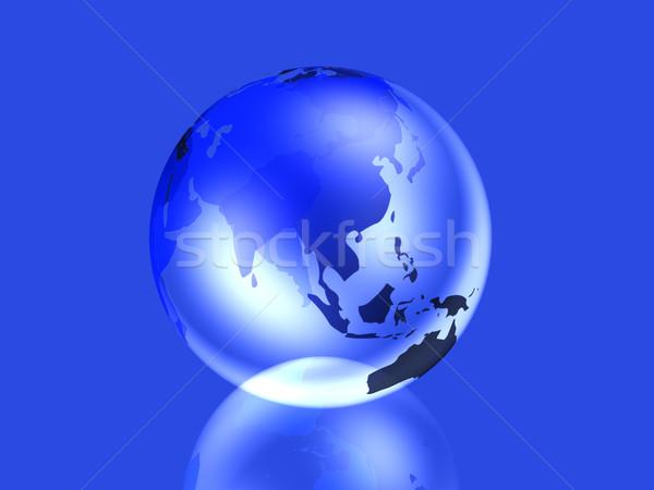 Glazig wereldbol asia 3D gerenderd illustratie Stockfoto © Spectral