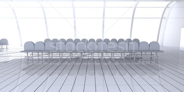 Lotniska korytarzu 3D świadczonych ilustracja budynku Zdjęcia stock © Spectral