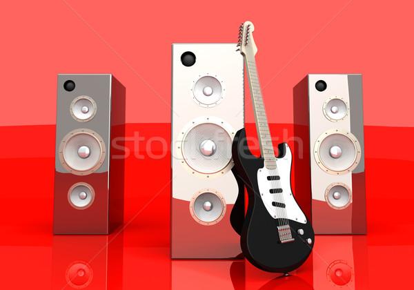 Ses eğlence 3D render örnek gitar Stok fotoğraf © Spectral