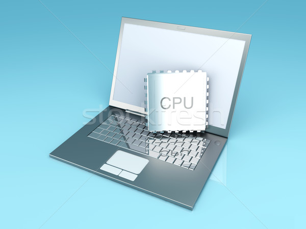 Mobiele cpu 3D gerenderd illustratie laptop Stockfoto © Spectral