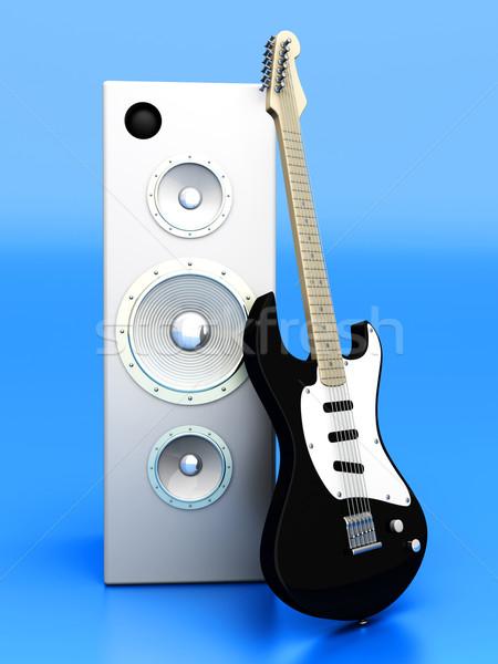 Audio entertainment 3D gerenderd illustratie gitaar Stockfoto © Spectral