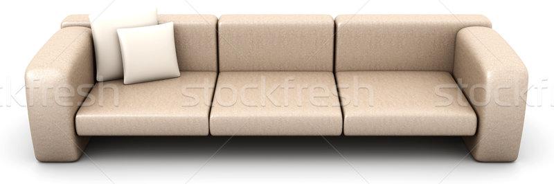 диван 3D оказанный иллюстрация изолированный белый Сток-фото © Spectral
