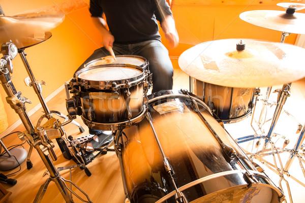 Trommelaar muziek man nacht rock Stockfoto © Spectral
