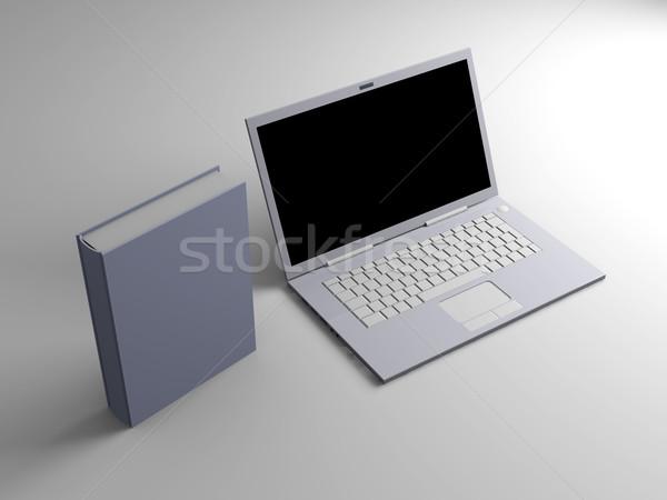 цифровой книгах ноутбука 3D оказанный иллюстрация Сток-фото © Spectral