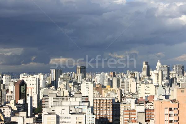 Sötét égbolt Sao Paulo sziluett Brazília város Stock fotó © Spectral