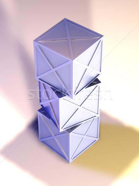 железной коробки 3d иллюстрации грубо материальных Сток-фото © Spectral