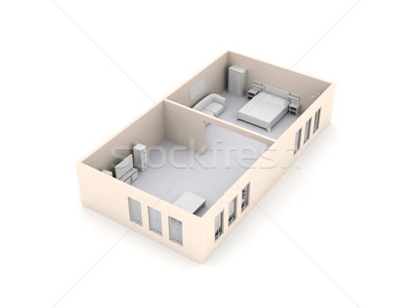 Wohnung Innenraum 3D gerendert Architektur isoliert Stock foto © Spectral