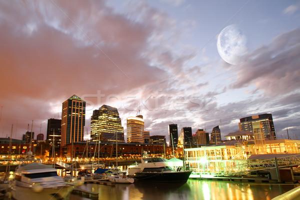 Buenos Aires panoráma Argentína iroda épület éjszaka Stock fotó © Spectral