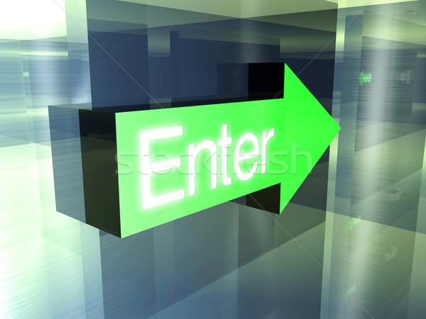 Belépés erre 3d illusztráció ajtó háttér fém Stock fotó © Spectral