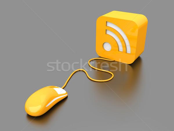 Rss fare clic 3D reso illustrazione simbolo Foto d'archivio © Spectral