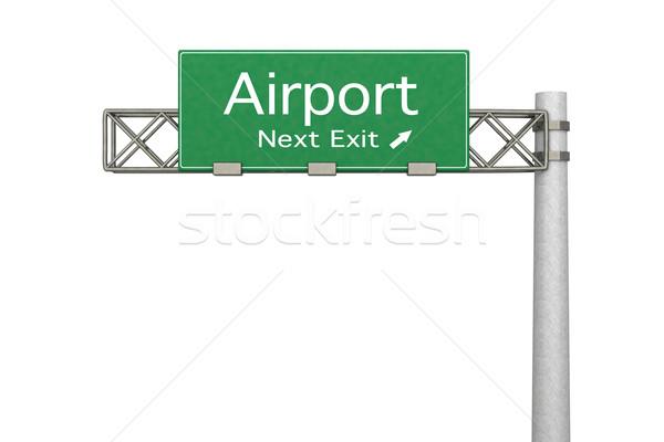Sinal da estrada aeroporto 3D prestados ilustração próximo Foto stock © Spectral