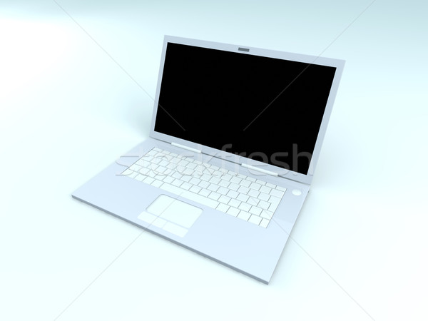 Stockfoto: Laptop · 3d · illustration · toetsenbord · monitor · grafische · lcd