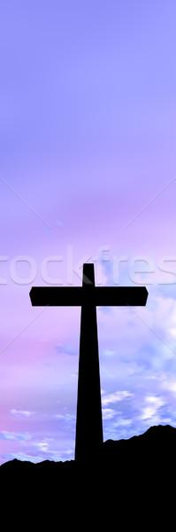 Stockfoto: Kruis · 3d · illustration · symbool · christendom · zonsondergang · landschap
