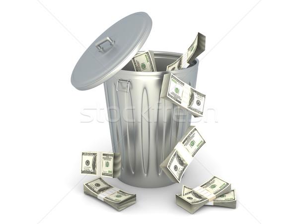 ストックフォト: ドル · ゴミ · することができます · 3D · レンダリング · 実例