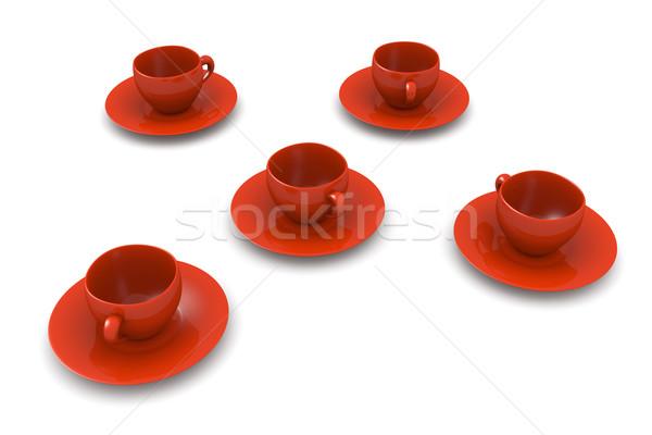 кофейные чашки 3D оказанный иллюстрация изолированный белый Сток-фото © Spectral