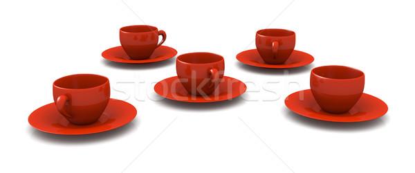 красный кофейные чашки 3D оказанный иллюстрация изолированный Сток-фото © Spectral