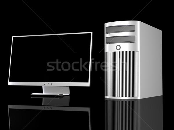 хром рабочая станция 3D оказанный иллюстрация металлической поверхности Сток-фото © Spectral