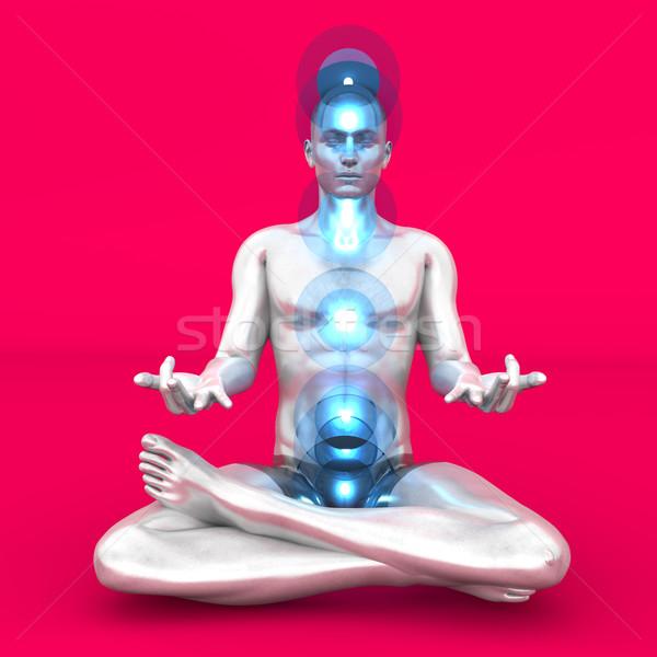 チャクラ 瞑想 女性 フル 3D ストックフォト © Spectral