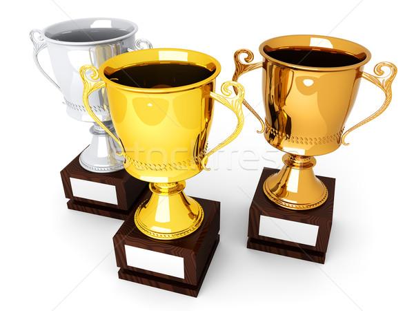 ストックフォト: 金 · 青銅 · 銀 · 3 · トロフィー · プレート