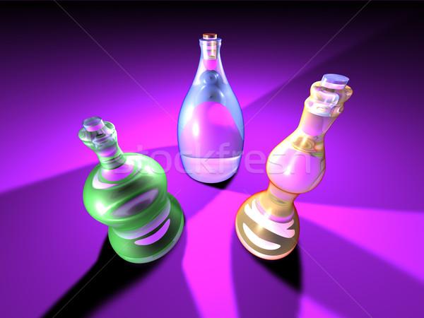 Butelek 3d trzy dziwne pioruna zielone Zdjęcia stock © Spectral
