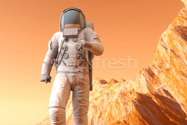 Astronauta caminhada superfície ilustração 3d homem paisagem Foto stock © Spectral
