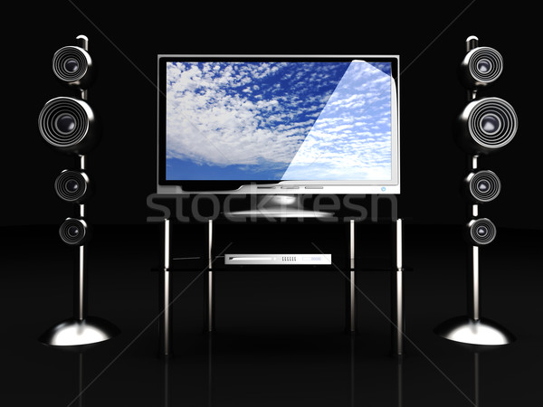 Home entertainment 3D gerenderd illustratie film tabel Stockfoto © Spectral