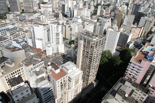 Sziluett Sao Paulo Brazília dél-amerika égbolt iroda Stock fotó © Spectral