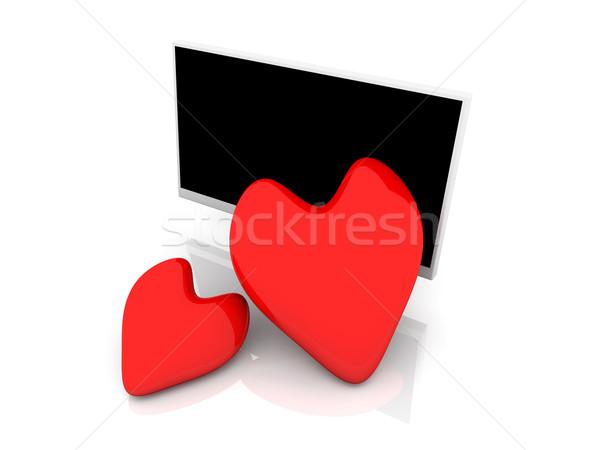 Kirakat szeretet 3d illusztráció szélesvásznú szív televízió Stock fotó © Spectral