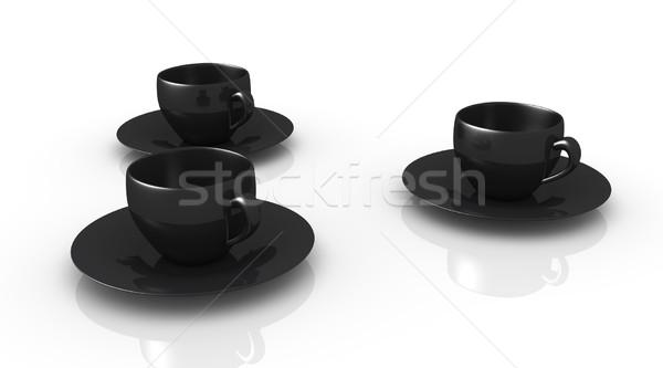 три кофейные чашки 3D оказанный иллюстрация изолированный Сток-фото © Spectral