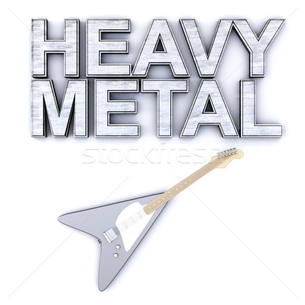 Heavy metal palavra guitarra 3D prestados Foto stock © Spectral