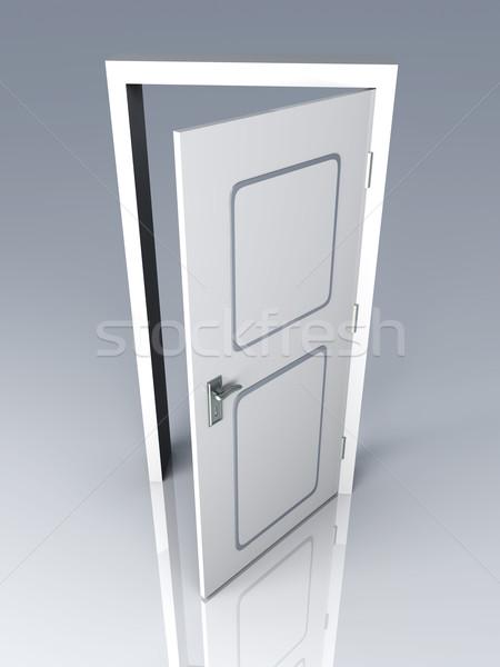 Nyitott ajtó ajtó nyitva 3D renderelt illusztráció Stock fotó © Spectral