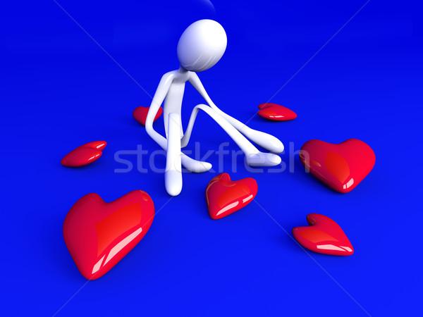 3D render örnek kalp kırmızı altın Stok fotoğraf © Spectral