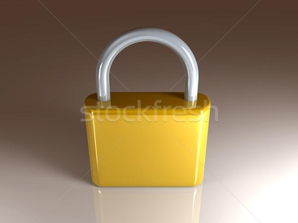 Altın asma kilit 3d illustration Metal güvenlik dijital Stok fotoğraf © Spectral
