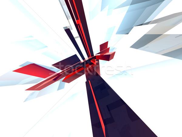 Hoog 3D gerenderd computer abstract Rood Stockfoto © Spectral