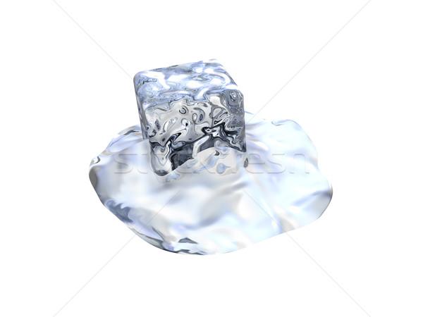 Olvad jégkocka 3D renderelt hideg kövek Stock fotó © Spectral