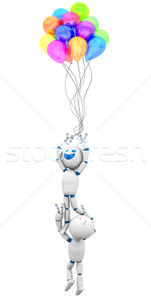 Cartoon robot battenti via palloncini effettuati Foto d'archivio © Spectral