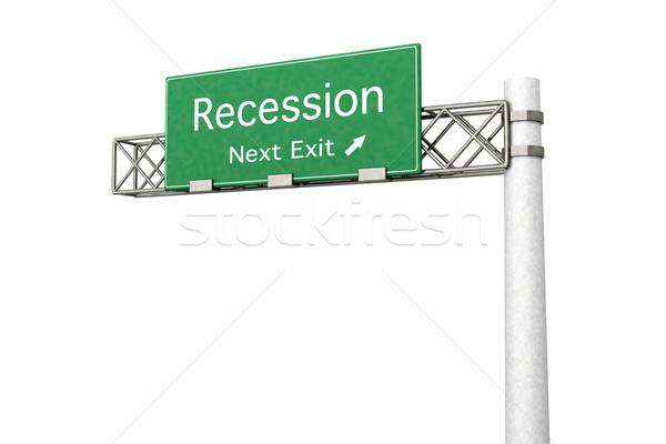 Znak autostrady recesja 3D świadczonych ilustracja następny Zdjęcia stock © Spectral