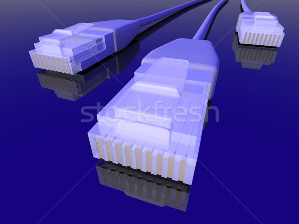 Hálózat kábel 3D renderelt LAN kék Stock fotó © Spectral