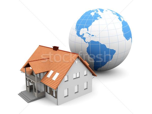 Сток-фото: глобальный · недвижимости · Мир · 3D · оказанный · иллюстрация