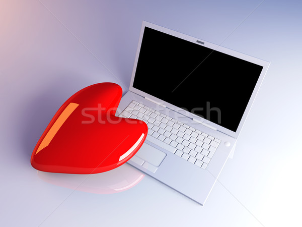 Laptop liefde 3d illustration hart internet monitor Stockfoto © Spectral