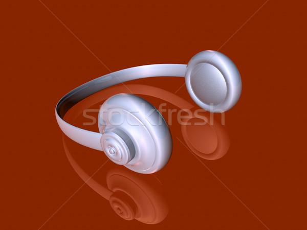 Zilver hoofdtelefoon 3d illustration donkere Rood grond Stockfoto © Spectral