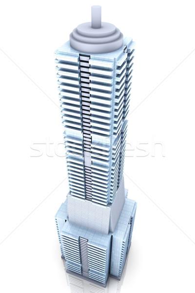 Modern bina çağdaş gökdelen 3D render örnek Stok fotoğraf © Spectral