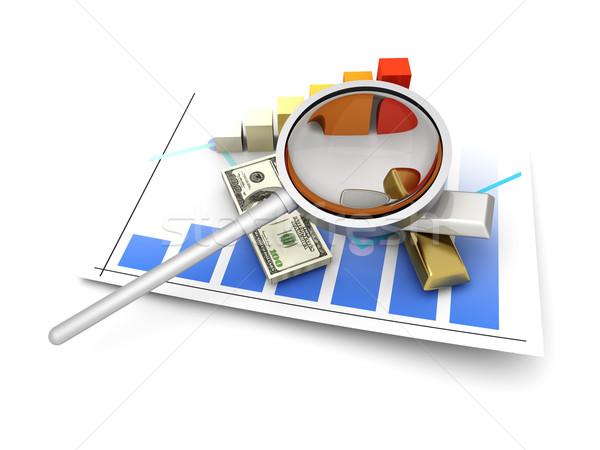 Borsa analiz finansal 3D render Stok fotoğraf © Spectral